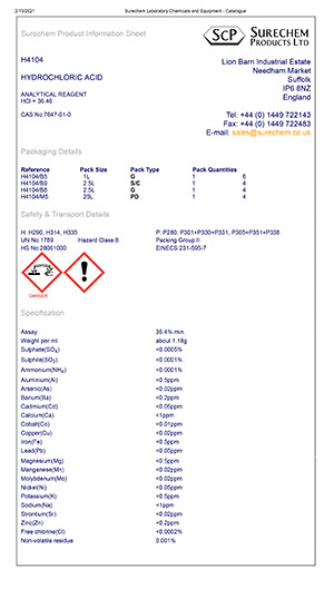 Example Product Data Sheet